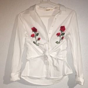 Embroidered rose button up